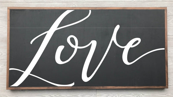 Love Framed Wood Sign {Black Sign}