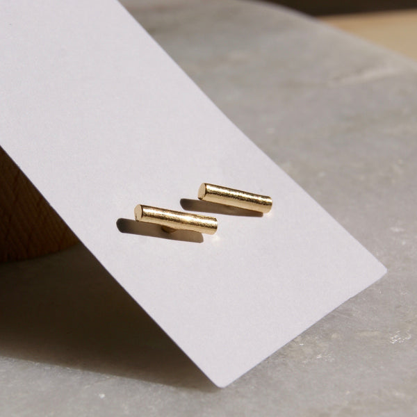 12mm Bar Earrings Gold- Golden Rule Jewelry Co.