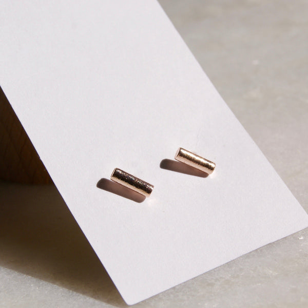 8mm Bar Earrings Rose Gold- Golden Rule Jewelry Co.