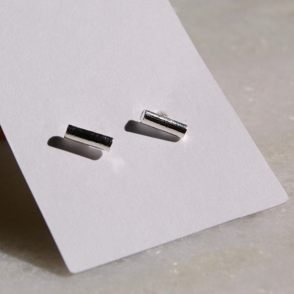 8mm Bar Earrings Silver- Golden Rule Jewelry Co.