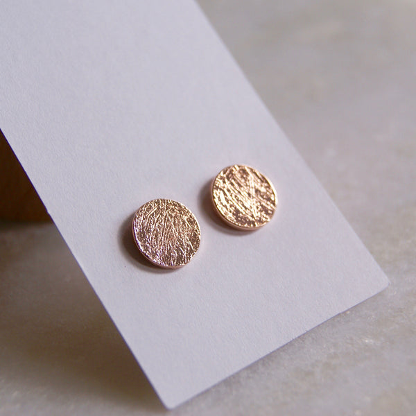 Brushed Dot Earrings Rose Gold- Golden Rule Jewelry Co.