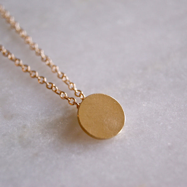 Brushed Dot Necklace Gold- Golden Rule Jewelry Co.