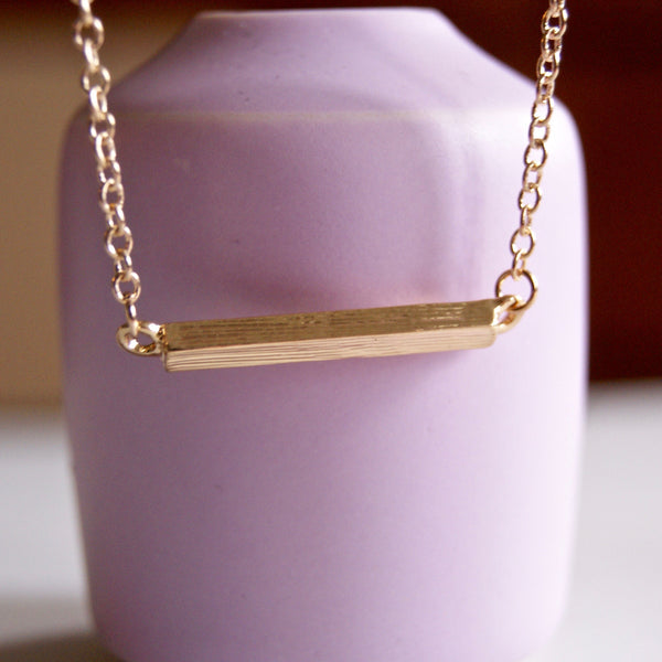 Brushed Short Bar Necklace Gold- Golden Rule Jewelry Co.