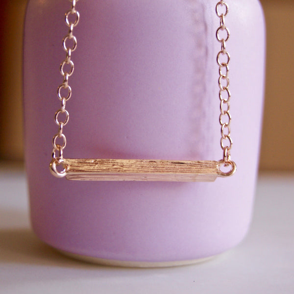 Brushed Short Bar Necklace Rose Gold- Golden Rule Jewelry Co.