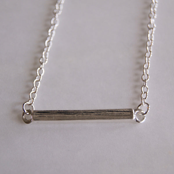 Brushed Short Bar Necklace Silver- Golden Rule Jewelry Co.