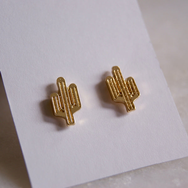 Cactus Earrings Gold- Golden Rule Jewelry Co.