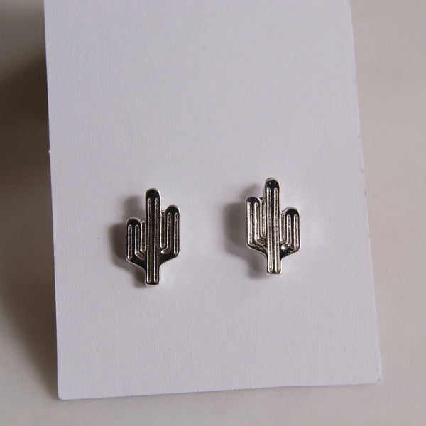 Cactus Earrings Silver- Golden Rule Jewelry Co.