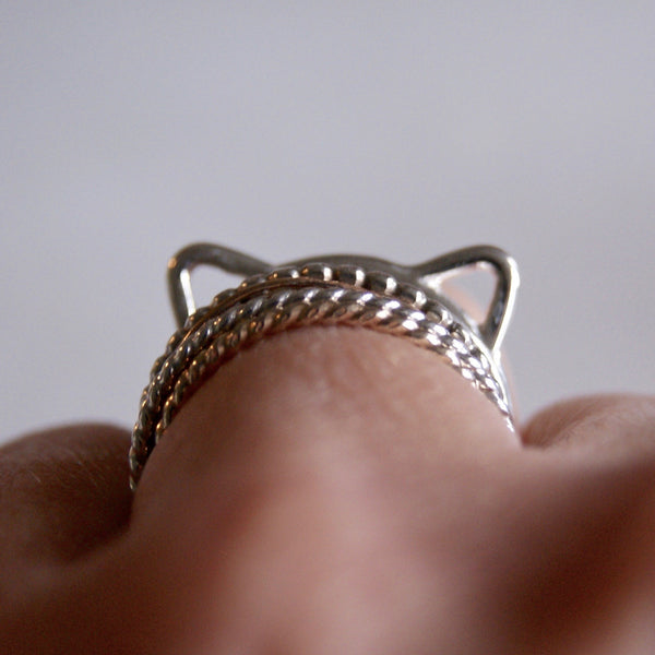 Cat Ears Ring Silver- Golden Rule Jewelry Co.