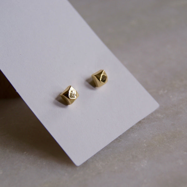 Chunky Square Earrings Gold- Golden Rule Jewelry Co.