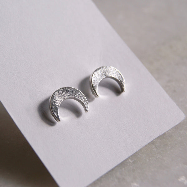 Crescent Moon Earrings Silver- Golden Rule Jewelry Co.