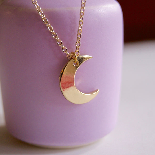 Crescent Moon Necklace Gold- Golden Rule Jewelry Co.