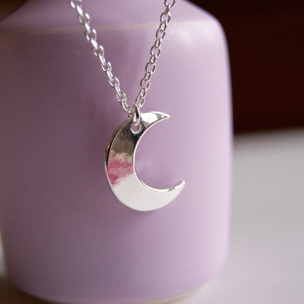 Crescent Moon Necklace Silver- Golden Rule Jewelry Co.
