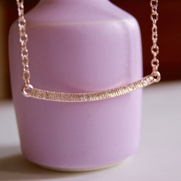 Curved Bar Necklace Rose Gold- Golden Rule Jewelry Co.