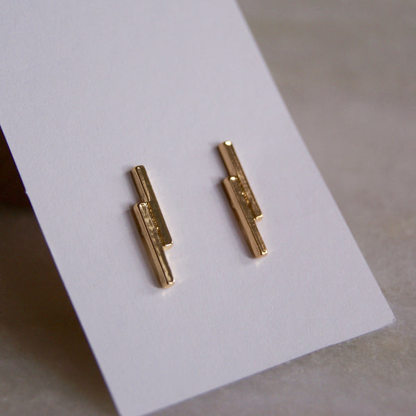 Double Dash Earrings Gold - Golden Rule Jewelry Co.
