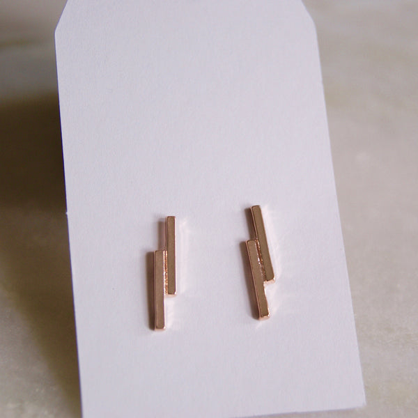 Double Dash Earrings Rose Gold - Golden Rule Jewelry Co.