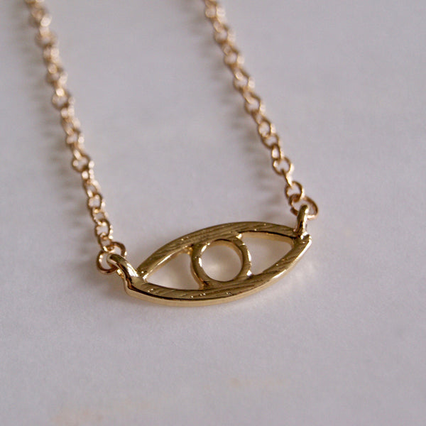 Evil Eye Necklace Gold- Golden Rule Jewelry Co.