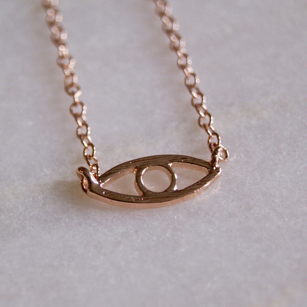 Evil Eye Necklace Rose Gold- Golden Rule Jewelry Co.