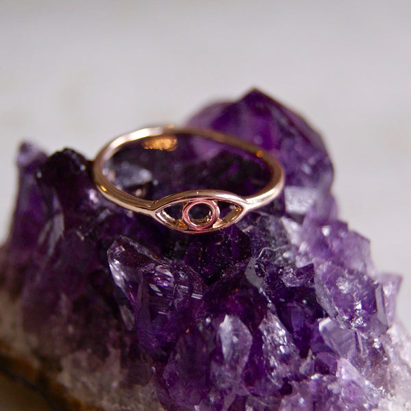 Evil Eye Ring Rose Gold- Golden Rule Jewelry Co.