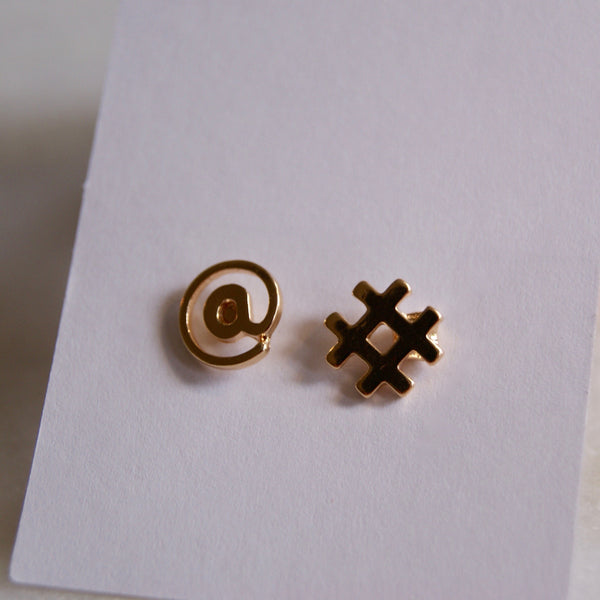 Hashtag Earrings Gold- Golden Rule Jewelry Co