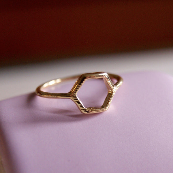 Hexagon Ring Gold- Golden Rule Jewelry Co.