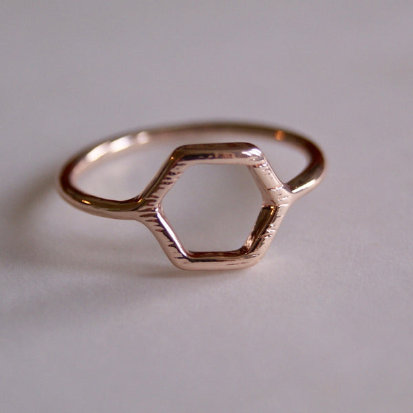 Hexagon Ring Rose Gold- Golden Rule Jewelry Co.