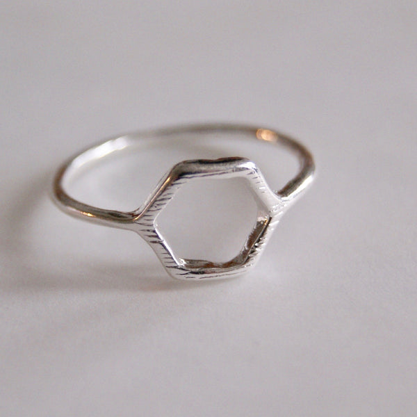 Hexagon Ring Silver- Golden Rule Jewelry Co.