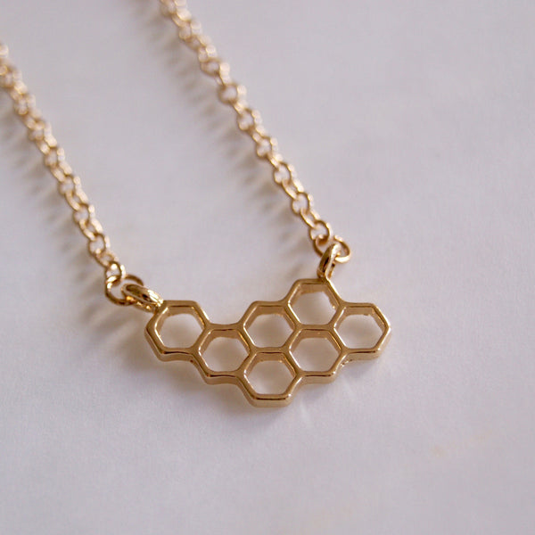 Honeycomb Necklace Gold- Golden Rule Jewelry Co.