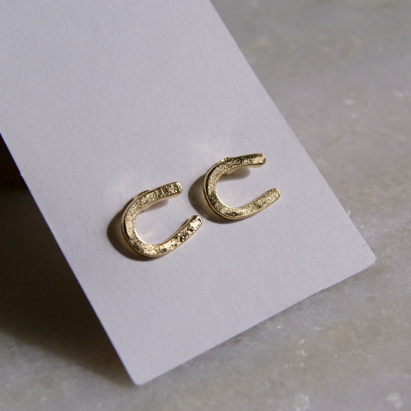 Horseshoe Earrings Gold- Golden Rule Jewelry Co.