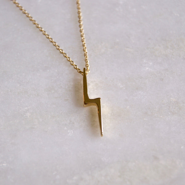 Lightning Bolt Necklace Gold - Golden Rule Jewelry Co.