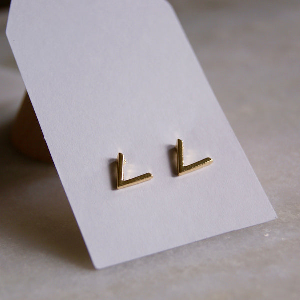 Mini V Earrings Gold- Golden Rule Jewelry Co.