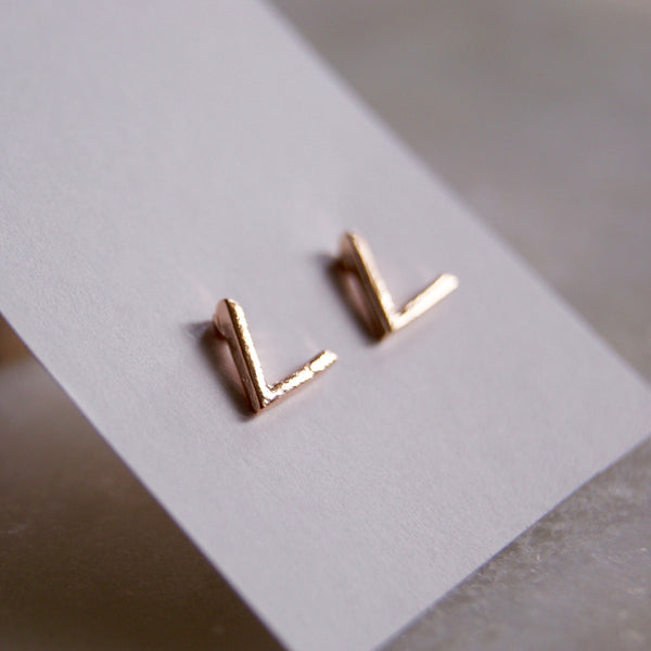 Mini V Earrings Rose Gold- Golden Rule Jewelry Co.