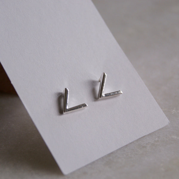 Mini V Earrings Silver- Golden Rule Jewelry Co.