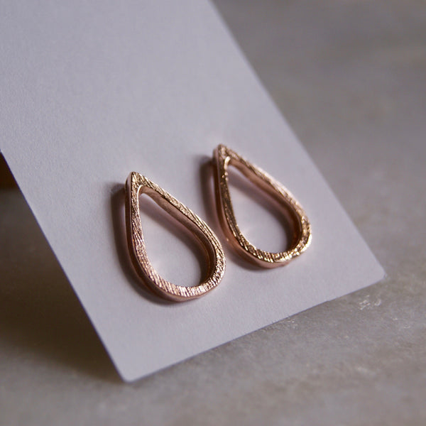 Open Teardrop Earrings Rose Gold- Golden Rule Jewelry Co.