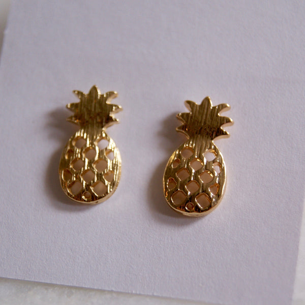 Pineapple Earrings Gold - Golden Rule Jewelry Co.