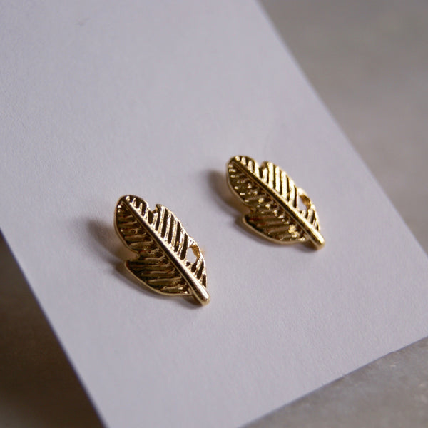Short Gold Feather Earrings - Golden Rule Jewelry Co