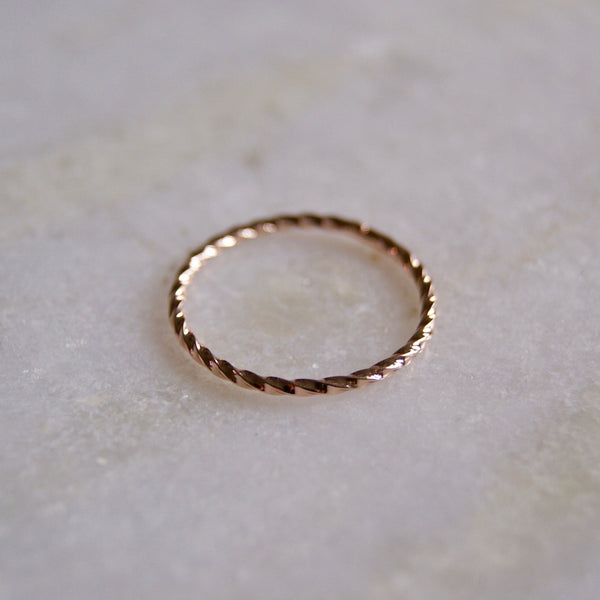 Twist Stacking Rose Gold Ring- Golden Rule Jewelry Co.