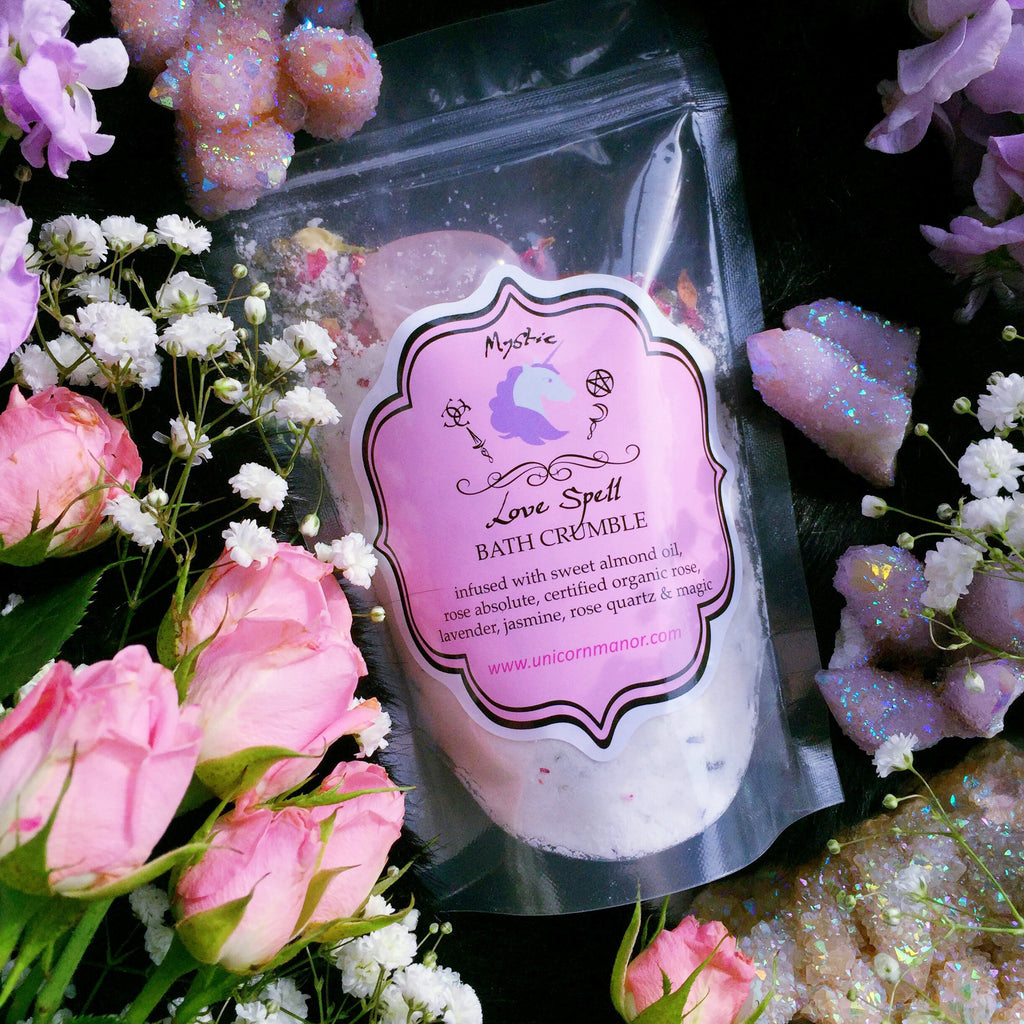 Mystic Unicorn Love Spell Rose Crystal Infused Bath Crumble