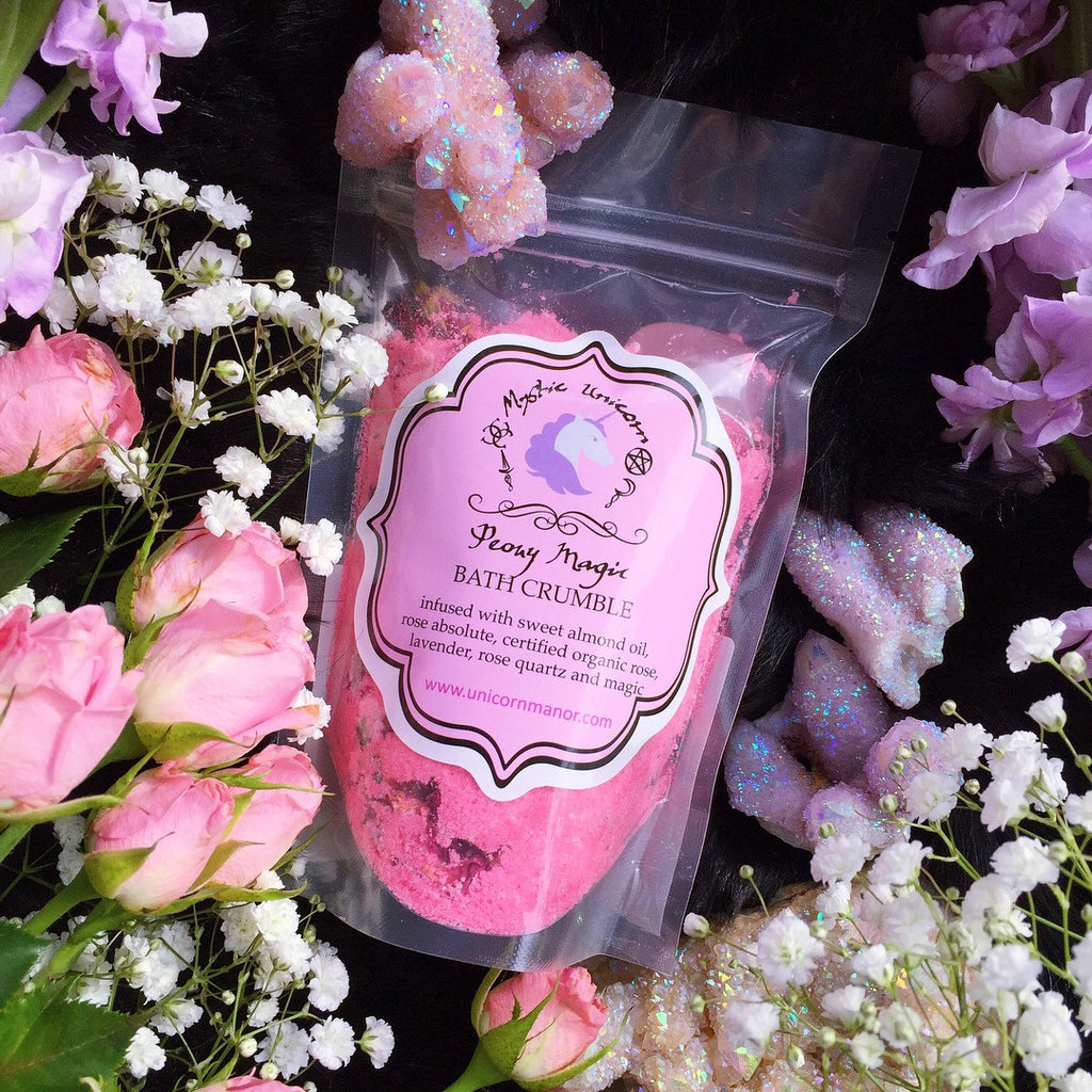 MYSTIC UNICORN Peony Magic Crystal Infused Bath Crumble