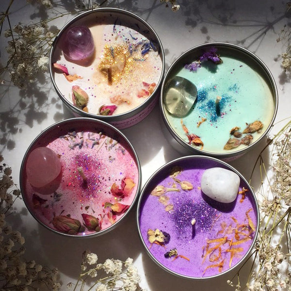 SALE Cosmetic Damaged Mystic Unicorn crystal candle  - assorted