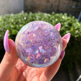 Rainbow Aura Quartz Geode Sphere Crystal Ball #1