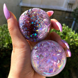 Rainbow Aura Quartz Geode Sphere Crystal Ball #2