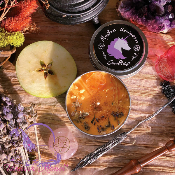 MYSTIC UNICORN Mabon Blessings Autumn Equinox Crystal Candle *seasonal*