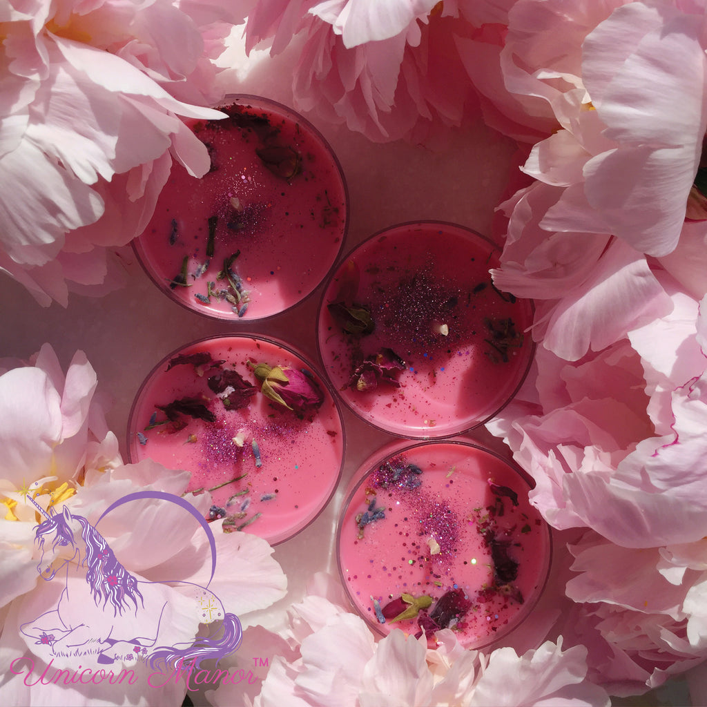 Mystic Unicorn Peony Magic Tealight Candle Set