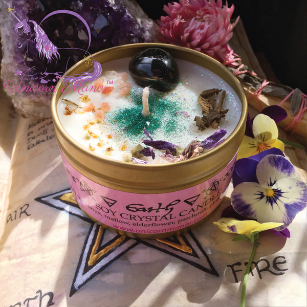MYSTIC UNICORN Earth Crystal Candle - Elemental Magick