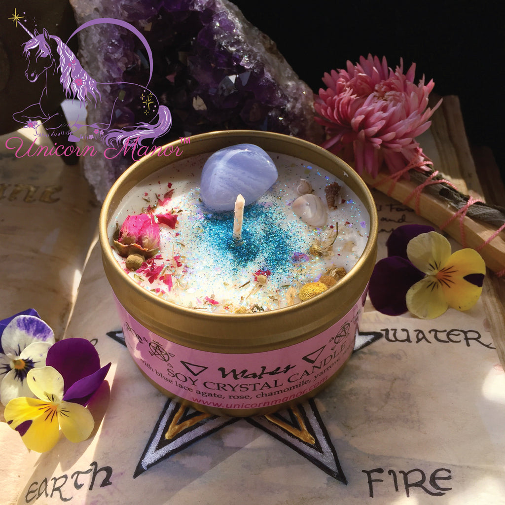 Mystic Unicorn Earth Fire Water Air Crystal Candle Bundle Set - Elemental Magick