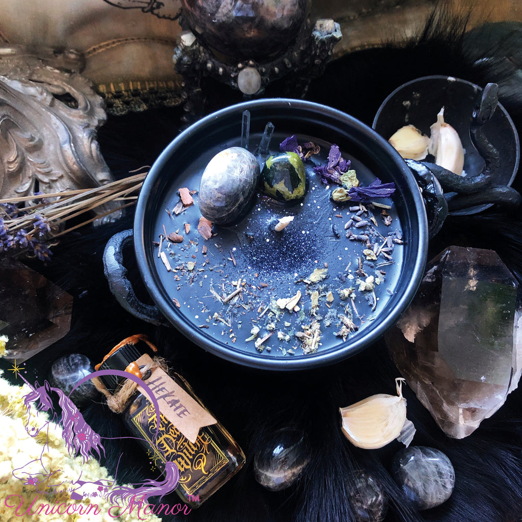 Limited Edition Mystic Unicorn Hecate Cauldron Crystal Candle