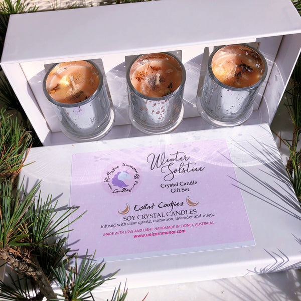 Winter Solstice Christmas Crystal Candle Gift Set *seasonal*