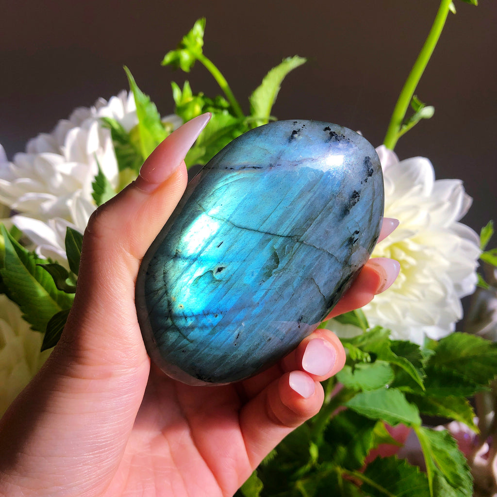 Large Labradorite Palmstone with Black Tourmaline inclusions #1