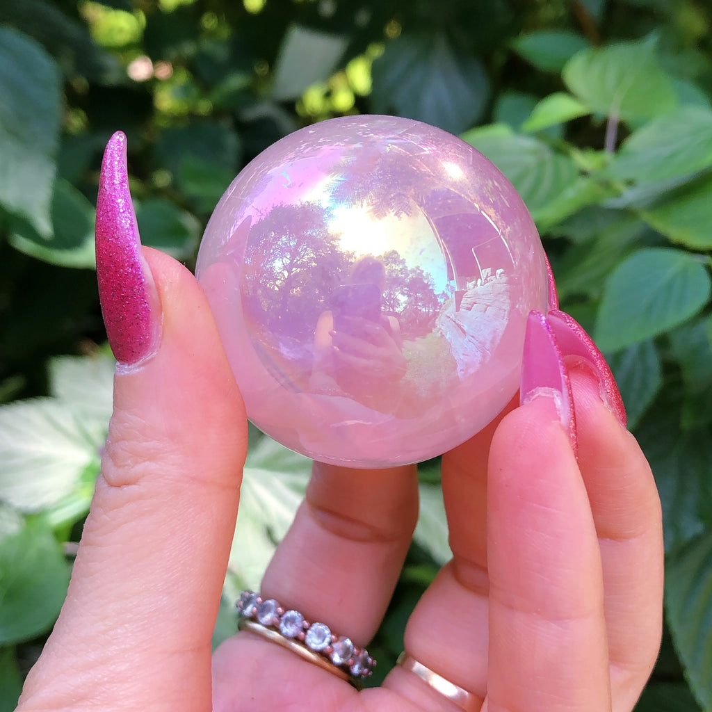 Rose Quartz Angel Aura Crystal Ball