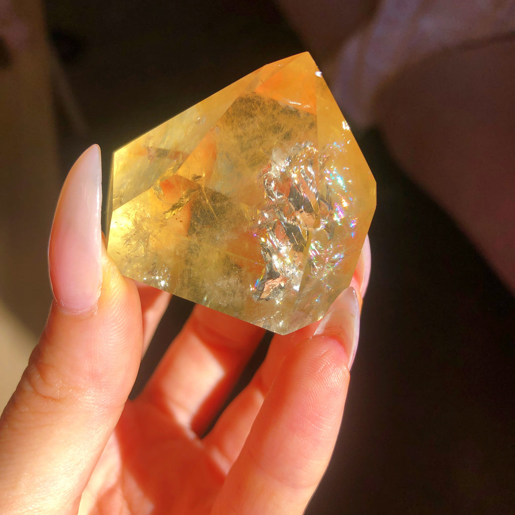 Natural Citrine Generator with rainbow inclusions #3